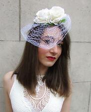 Ivory White Rose Flower Birdcage Veil Fascinator Vintage Headpiece 1940s 20s S43