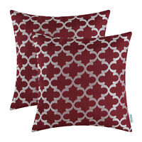 "2Pcs Quatrefoil Trellis Geometric Cushion Covers Pillows Cases Home Decor 18X18"""