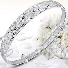Fashion Jewelry 925 Sterling Silver Plated Womens Charm Bangle Bracelet Nice