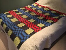 """Vintage Retro Yellow Blue Red Black Check Design Blanket Throw Approx 62"""" x 76"""""""