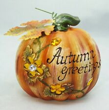 Pumpkin Autumn Greetings Fall Harvest Thanksgiving Table Decor Centerpiece Gift