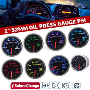 2'' 52mm 0-140 PSI Car Oil Press Pressure Gauge 7 Color LED Meter + Sensor 12V-