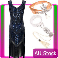 Ladies 20s 1920s Blue Roaring Flapper Costume Sequin Gatsby 1920s Fancy Dress