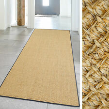 Teppich Hochwertig Sisal Läufer aus Naturfaser mit farbiger Kettelung 100x240 cm
