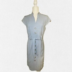 Calvin Klein Women's Buttoned Down Shirt Dress, Belted, Size 12, Used