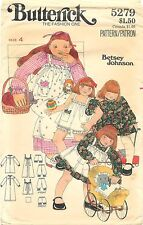 Vintage 1970's Butterick 5279 Sewing Pattern Children's Pinafore Bloomers Hankie