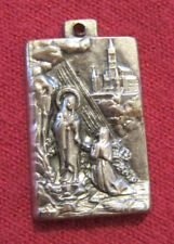 Antique Catholic Religious Holy Medal - Our Blessed Lady of Lourdes Scene ITALY