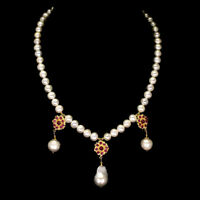 Round Red Ruby 4mm White Pearl 14K Gold Plate 925 Sterling Silver Necklace