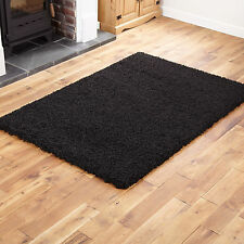 BLACK X LARGE 240x340cm SHAGGY RUG - THICK 5CM PILE MODERN SOFT NON SHED RUGS