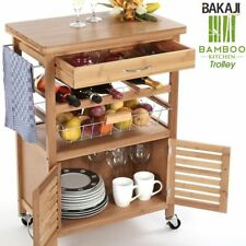 Carrello Cucina in legno BAMBU con Portabottiglie Cassetto Posate Cesto Acciaio