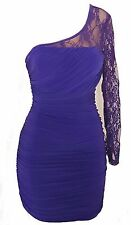 One-Shoulder Lace Long Sleeve A-Line Embellished Tiered Ruched Dress PURPLE M
