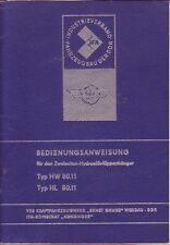 Betriebsanleitung f. Zweiachsen-Hydraulik-Kippanhänger Typ HW 80.11/Werdau/1975