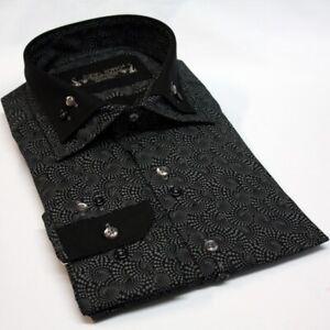 Men Shirt Italian design Double Collar  Casual  Cotton Slim Fit Size S-2XL