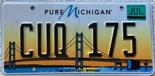 More details for michigan mackinac bridge american license licence usa number plate cuq 175