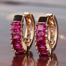 Luxury 18k gold filled Princess ruby unique style Eternity Party Hoop earring