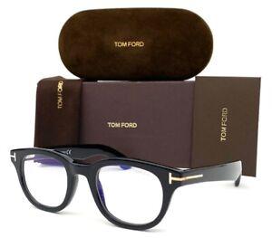 Tom Ford FT5558-B 001 Black / Blue Block 46mm Eyeglasses TF5558-B