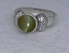 Handmade Ring with Cat's Eye Chrysoberyl Stone of Prosperity Lucky Ring Sterling
