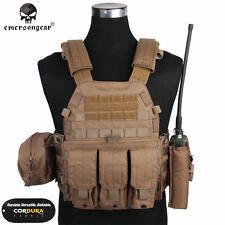 EMERSON LBT6094A Style Plate Carrier Vest w/ 3 Pouch Tactical CORDURA CB EM7440J