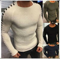 Men's Slim Knit Stripe Soft Warm Sweater Soild  Round Neck Long Sleeve Pullover