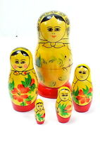Vintage USSR RUSSIAN Hand Crafted 5 Piece NESTING DOLL Set