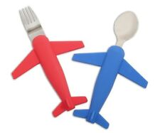 Kids' Airplane Fork & Spoon Set, Stainless Steel & Silicone by Luso Aviation
