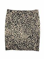Ann Taylor Loft Pencil Tan Black Animal Print Skirt Women's Size 10P