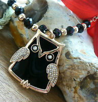 Unusual Valentines day Gift for Her Gorgeous Black Owl Girls present Art deco