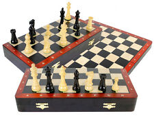 "16"" Ebony Folding Board + 3-3/4"" Chess Pcs + Algebraic Notations + Inlaid Border"