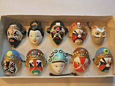 More details for ten vintage japanese noh masks (small decorative items)