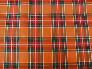 Orange Tartan Sienna Plaid Craft Dress fabric 150 cm  Wide fabric FREE P & P