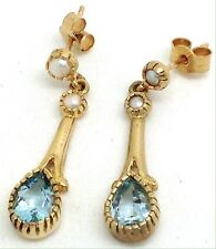 9ct Gold Blue Topaz & Pearl Pear Drop Earrings, New, Actual Ones.