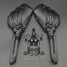 Black Skull Skeleton Mirrors Rearview For Harley Sportster Dyna Touring Softail
