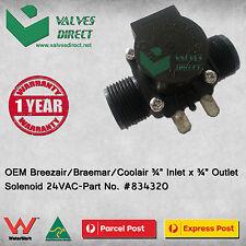 """OEM Breezair/Braemar/Coolair 3/4"""" Inlet x 3/4"""" Outlet Solenoid 24VAC #834320"""