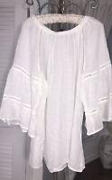 NEW Plus Size 2X White Ivory Gauze Peasant Blouse Top Cocomo Shirt