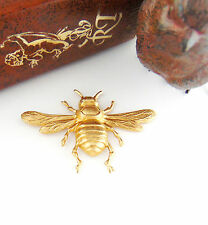 BRASS (2 Pieces) Large BEE Stamping ~ Bee With Wings Jewelry (FA-6023) *