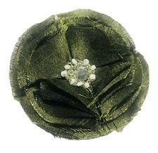Sewn For Hat Or Lapel 3� Green Fabric Flower Pin Brooch Hand