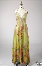 Size 8 Woman Silk Print Beading Cocktail Evening Formal Party Maxi Long Dress