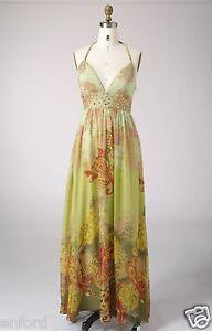 Size 8 Woman Silk Print Beading Cocktail Evening Formal Party Maxi Long Dress