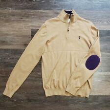 Vicomte A. Paris Mens L Half Zip Keaton Jumper Cashmere Blend Sweater Purple