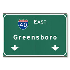36x24 Metal Art Decor Greensboro North Carolina Highway Sign Interstate 40 E Nc