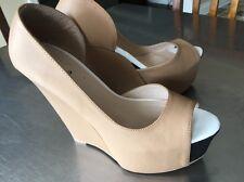 •Qupid• Womens/Juniors Tan Platform Wedge Size 7 HIGH Five Inch Wedge EUC