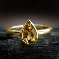 Natural Yellow Citrine Gemstone 14K Yellow Gold Wedding Gift Ring - All Size