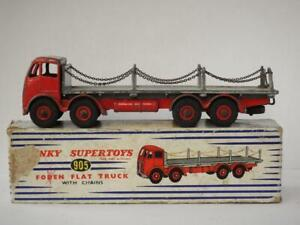 DINKY TOYS ORIGINAL VINTAGE 1957 BOXED FODEN No.905 FLAT TRUCK WITH CHAINS