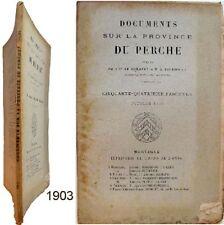 Documents sur province Perche 54/1903 Romanet Tournouer cartulaire Marmoutiers