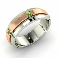 Men's 6 mm Natural Peridot Wedding Ring / Band In Solid 14k White Gold Size 10