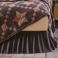 ARLINGTON Queen Bed Skirt Dust Ruffle Navy Micro Check Cotton Farmhouse Rustic