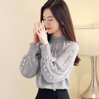 New Autumn Elegant Womens Ruffles Bow Knot Long Sleeve Chiffon Shirt Blouse Tops