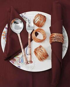 Metal Solid Hammered Napkin Rings Set for Dining Table Party Thanksgiving Decor.