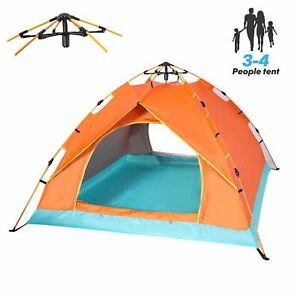 QOZY Camping Tent 4 Person, Instant Automatic 1 Minute Pop Up Dome Tent,Portable
