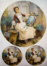 Rice Paper for Decoupage Scrapbook and Craft Vintage Woman and Flowers 478